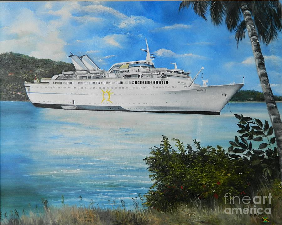 Ms Starward In Port Antonio Jamaica Painting By Kenneth Harris - Starward cruise ship