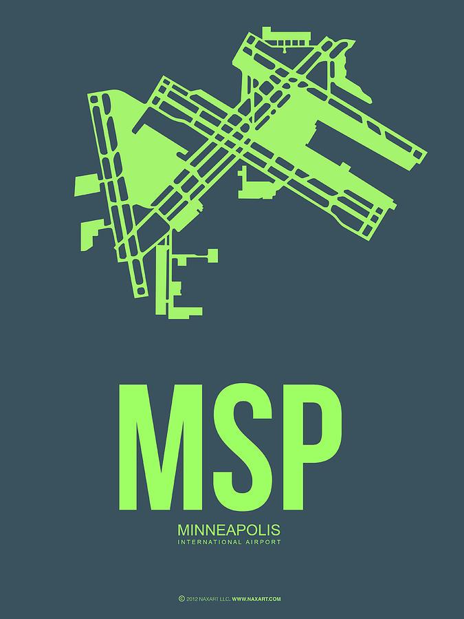 Minneapolis Digital Art - Msp Minneapolis Airport Poster 2 by Naxart Studio