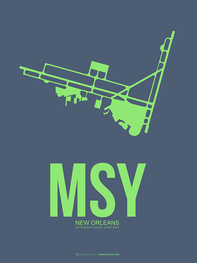 New Orleans Digital Art - Msy New Orleans Airport Poster 2 by Naxart Studio