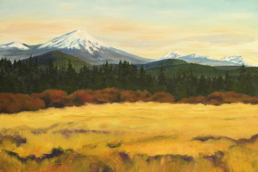 Landscapes Painting - Mt. Bachelor by Donna Drake