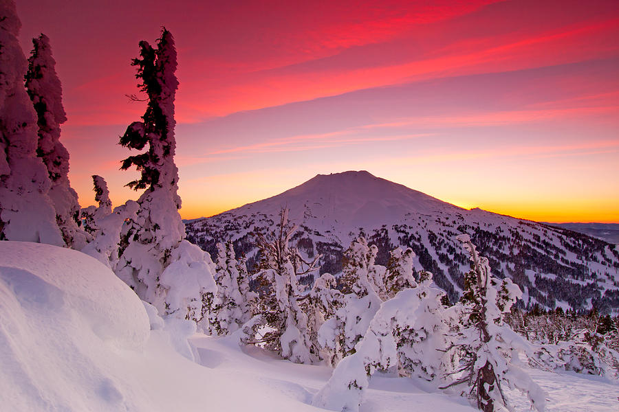 Winter Landscape Photograph - Mt. Bachelor Winter Twilight by Kevin Desrosiers