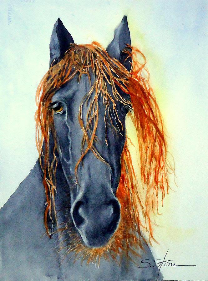 Watercolor Painting - Mt. Charleston Wild Horse by Sandra Stone