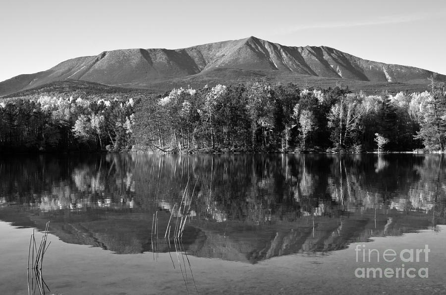 Mt. Katahdin Photograph - Mt Katahdin Black And White by Glenn Gordon