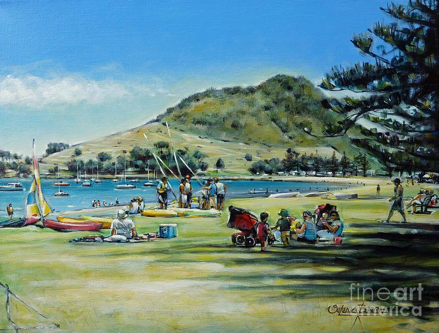 Beach Painting - Mt Maunganui Pilot Bay 201210 by Selena Boron