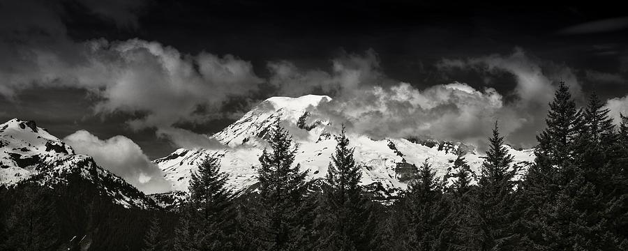 Mt Photograph - Mt Rainier Panorama B W by Steve Gadomski