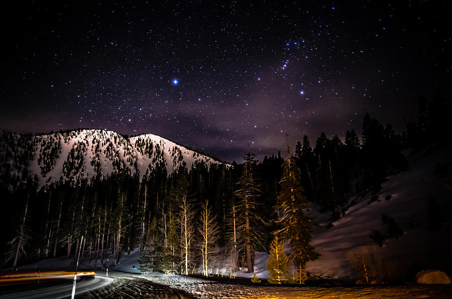 Astrophotography Photograph - Mt. Rose Highway And Ski Resort At Night by Scott McGuire