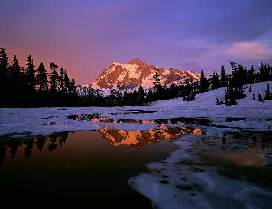 Color Image Photograph - Mt. Shuksan Reflecting Into A Partial by Panoramic Images
