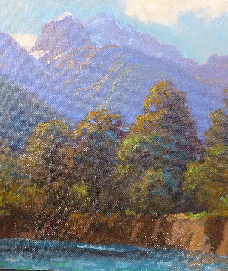 Landscape Painting - Mt. Tewhero Holyford V.landscape by Terry Perham