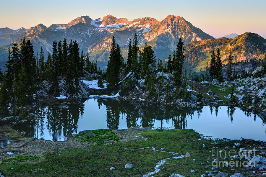 Mount Timpanogos Photograph - Mt. Timpanogos At Sunrise From Silver Glance Lake by Gary Whitton
