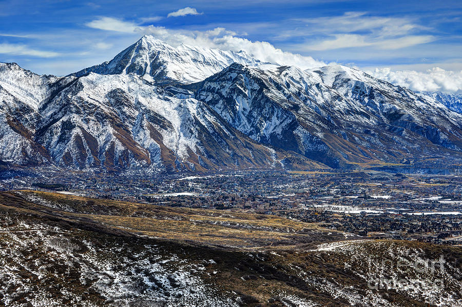 Mt Timpanogos In Winter From Utah Valley Photograph By