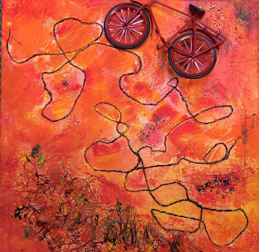 Abstract Acrylic Collage Texture Bicycle Landscape Challenge Painting - Mt Tamalpais by Janet  Pirozzi