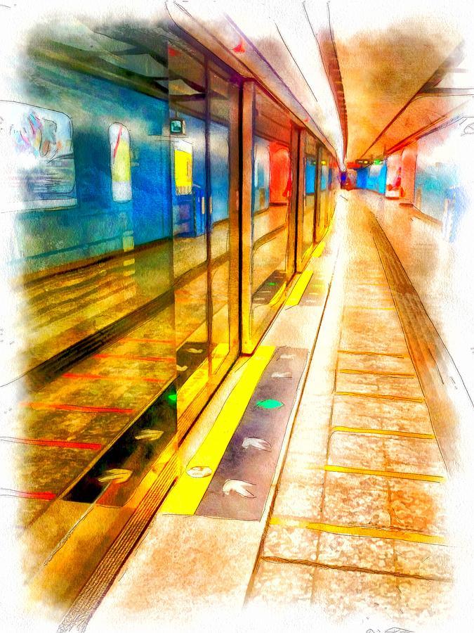 Hong Digital Art - Mtr Admiralty Station In Hong Kong by Yury Malkov