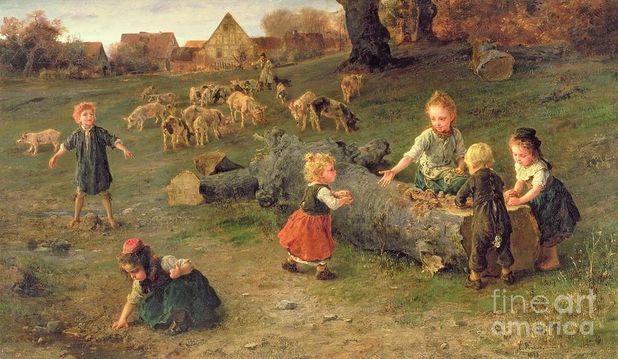 Mudpie Painting - Mud Pies by Ludwig Knaus