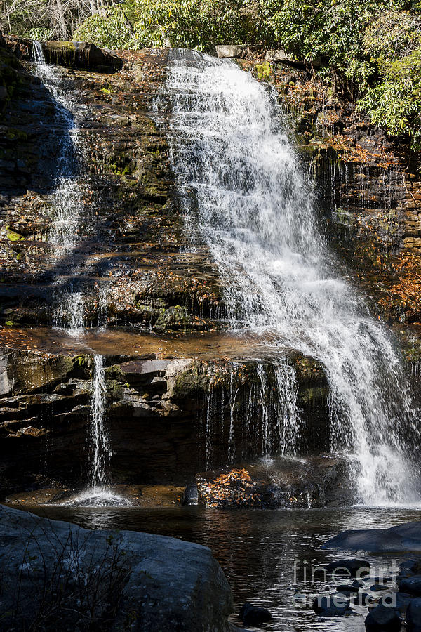 Autumn Photograph - Muddy Creek Falls At Low Water At Swallow Falls State Park In Western Maryland by William Kuta