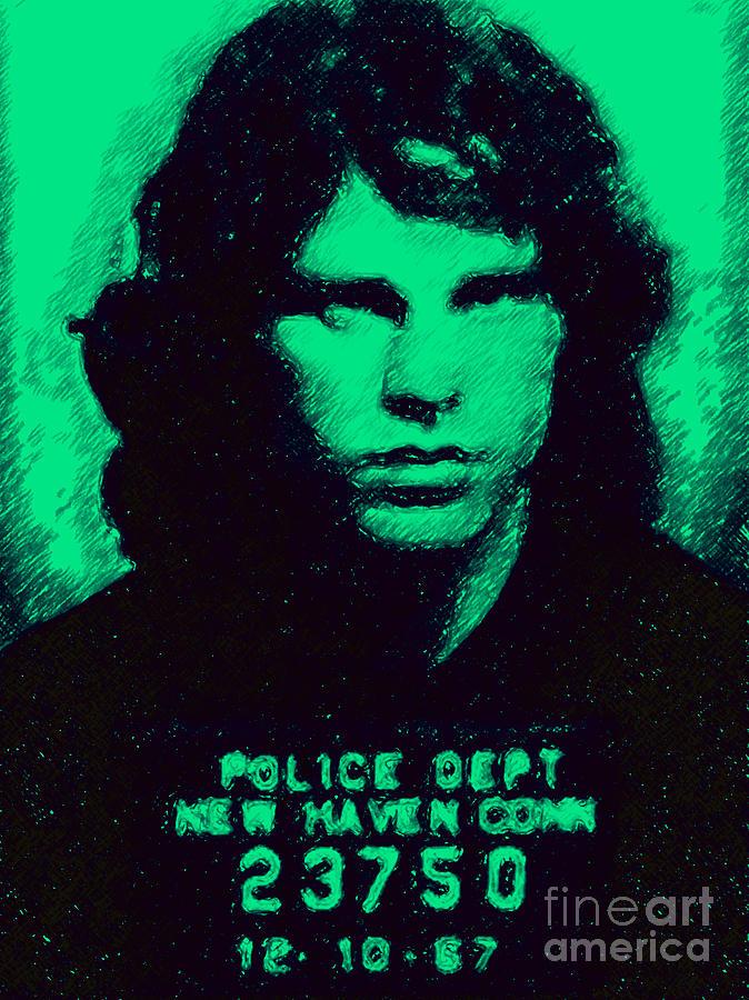 Jim Morrison Photograph - Mugshot Jim Morrison P128 by Wingsdomain Art and Photography