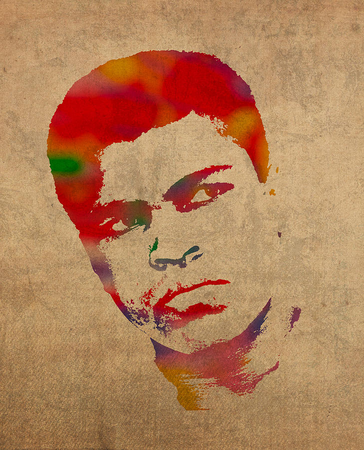 Muhammad Ali Watercolor Portrait On Worn Distressed Canvas Mixed Media by Design Turnpike