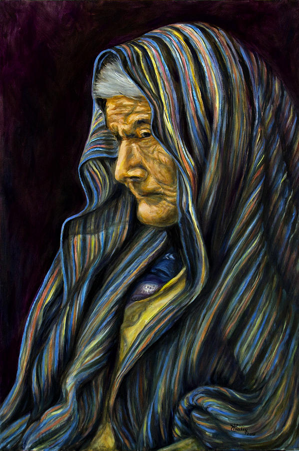 Mujer Mayor En Rebozo Painting by Pat Haley