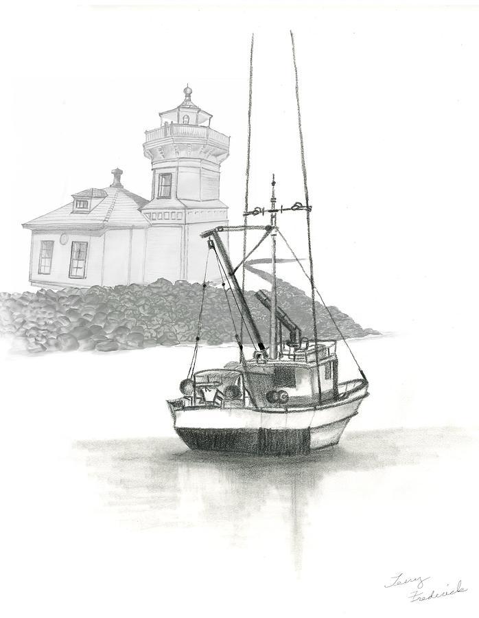 Mukilteo Drawing - Mukilteo Lighthouse by Terry Frederick