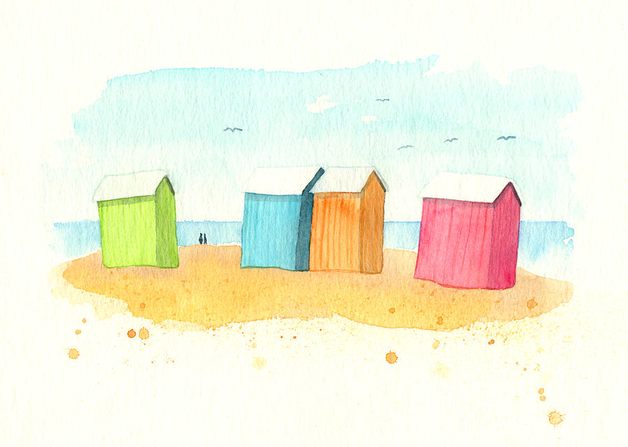 Multi Colored Beach Huts Digital Art by Nautic By Nature. Watercolor Illustrations From The Seaside