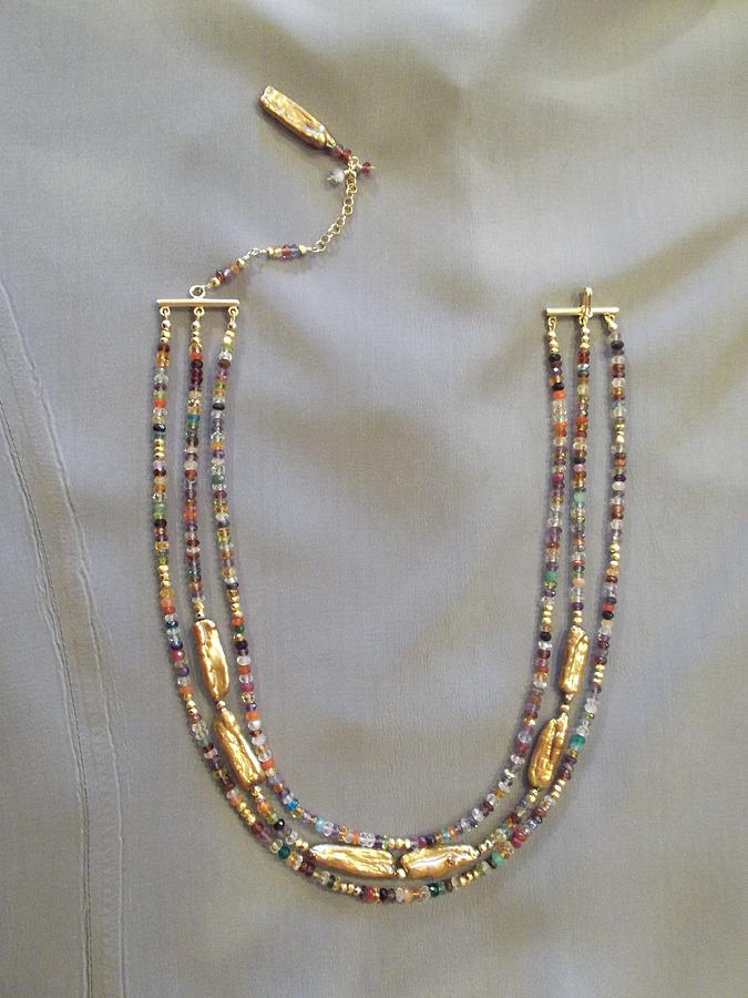 Pearls Jewelry - Multi Gem Gold Pearl Necklace by Jan Durand