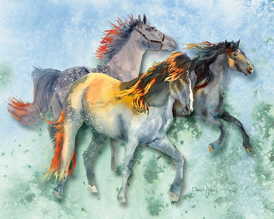 Horse Painting -  Da132 Multi - Horses Daniel Adams by Daniel Adams