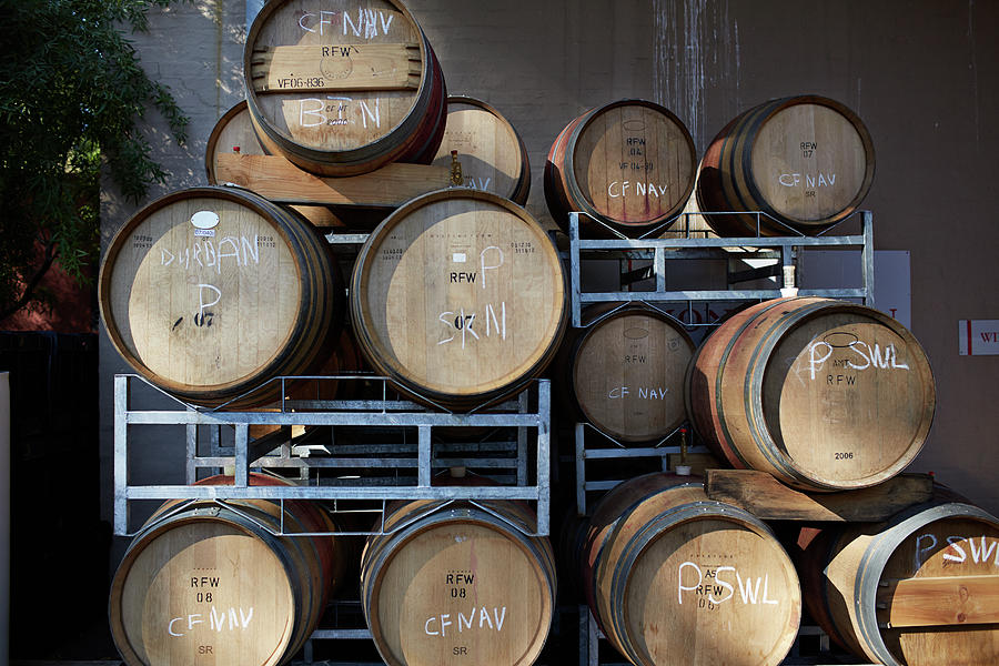 Multible Wooden French Winebarrels On Photograph by Klaus Vedfelt
