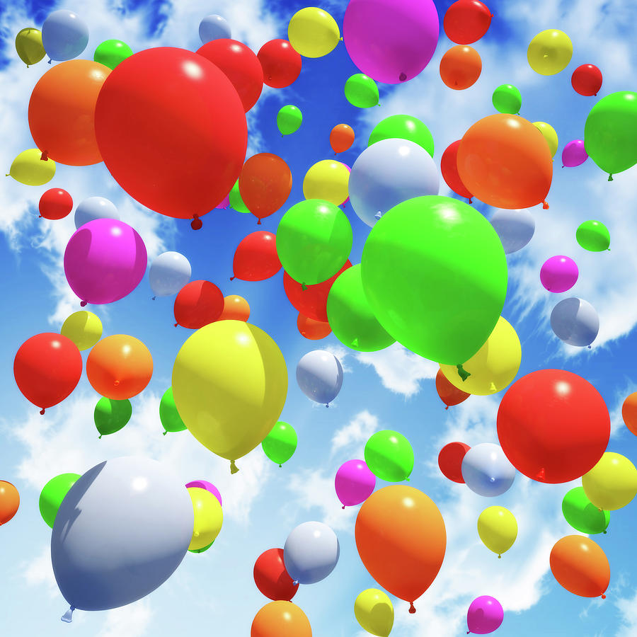 Multicolored Balloons Released Into The Photograph by Digtialstorm