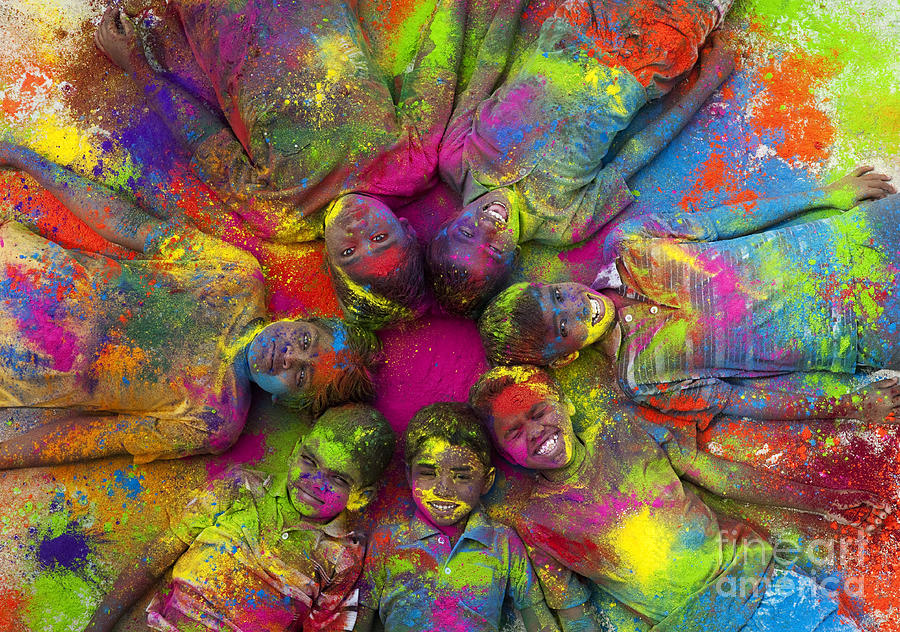 Indian Boys Photograph - Multicoloured Boys by Tim Gainey
