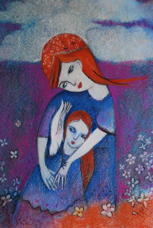Heather Pastel - Mum Bird And Me by Deirdre Gillespie