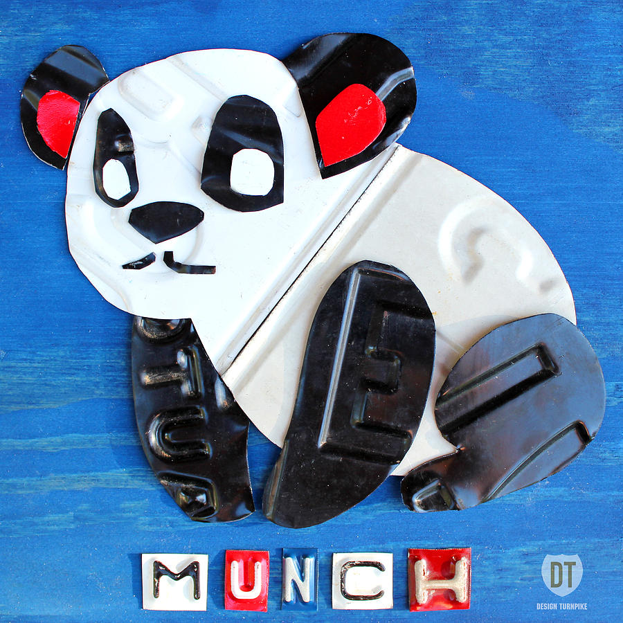 Map Mixed Media - Munch The Panda License Plate Art by Design Turnpike