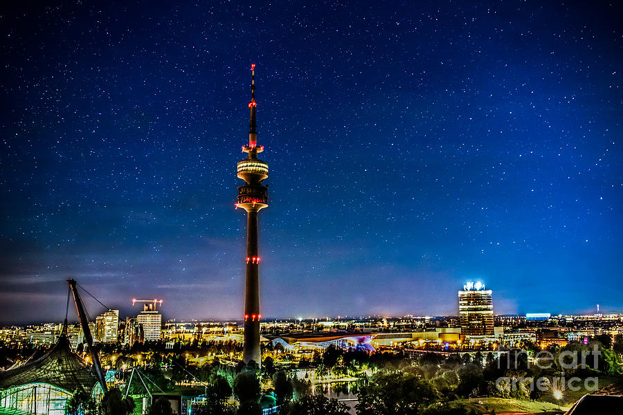 Architecture Photograph - Munich City Nights - Olympiapark by Hannes Cmarits