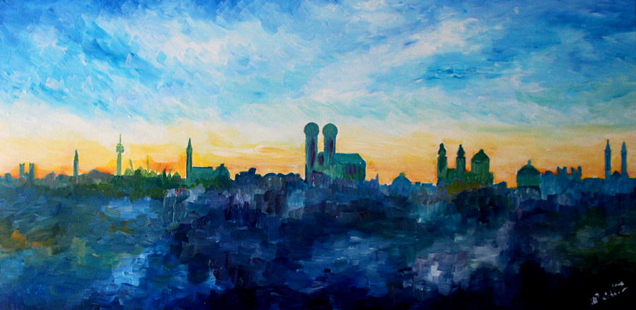 Munich Painting - Munich Skyline With Church Of Our Lady by M Bleichner