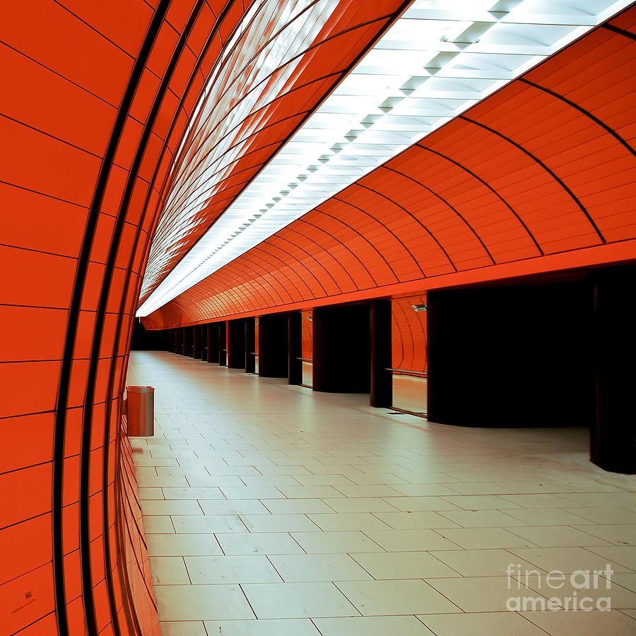 Orange Photograph - Munich Subway I by Hannes Cmarits