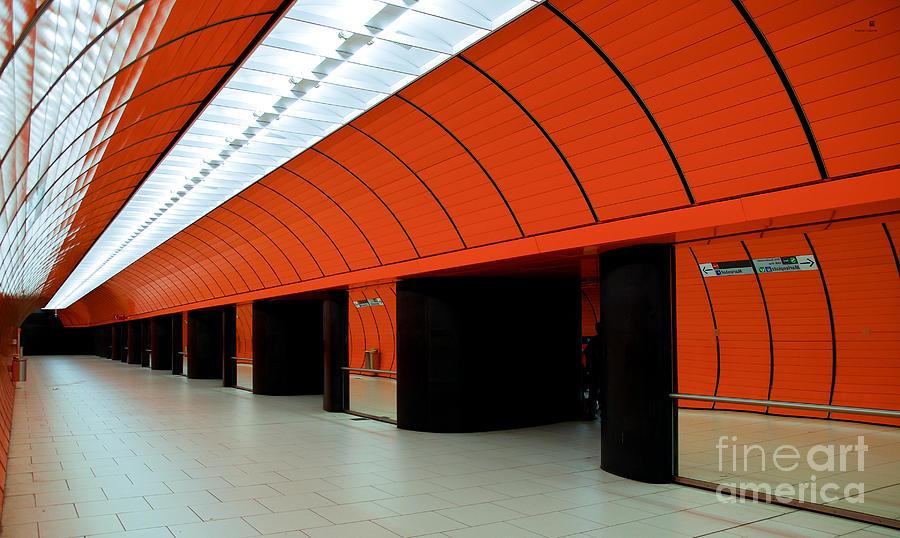 Orange Photograph - Munich Subway IIi by Hannes Cmarits