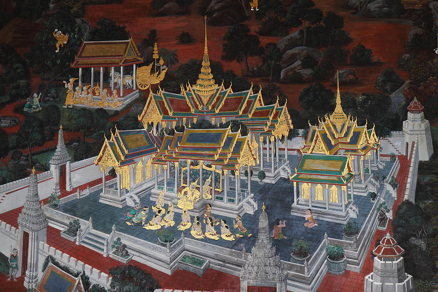Bangkok Photograph - Mural - Grand Palace In Bangkok Thailand - 01131 by DC Photographer