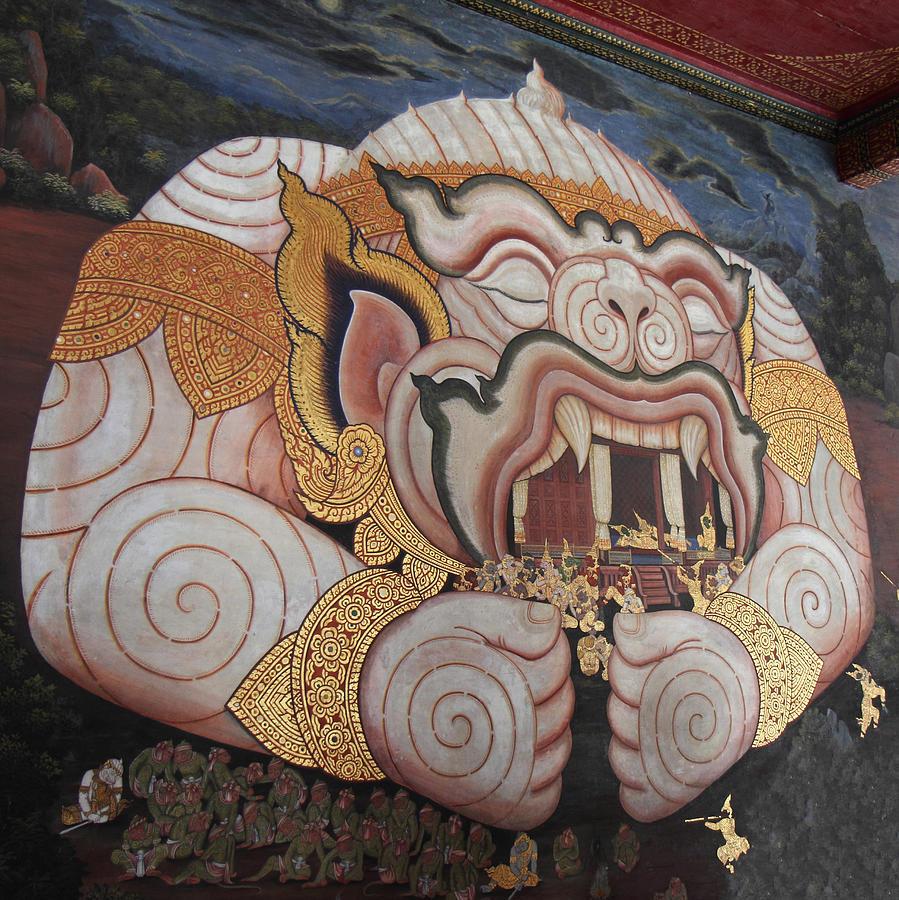 Bangkok Photograph - Mural - Grand Palace In Bangkok Thailand - 011311 by DC Photographer