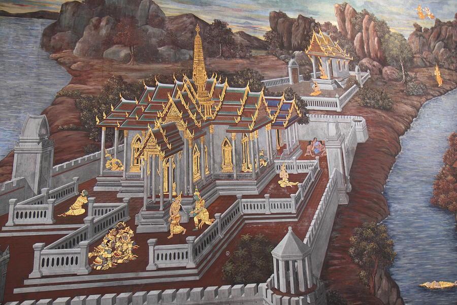 Bangkok Photograph - Mural - Grand Palace In Bangkok Thailand - 01135 by DC Photographer