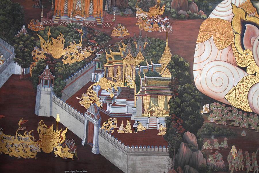 Bangkok Photograph - Mural - Grand Palace In Bangkok Thailand - 01139 by DC Photographer