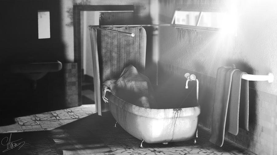Digital Digital Art - Murder In The Bath by Anton Egorov