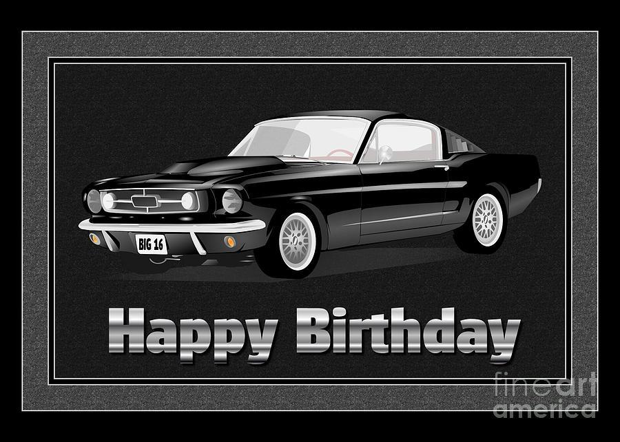 Muscle Car 16th Birthday Digital Art By Jh Designs