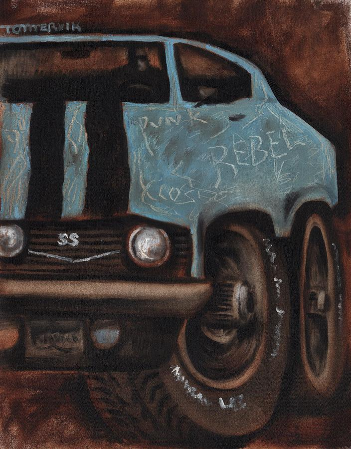 Muscle Car Rebel Art Print Painting By Tommervik