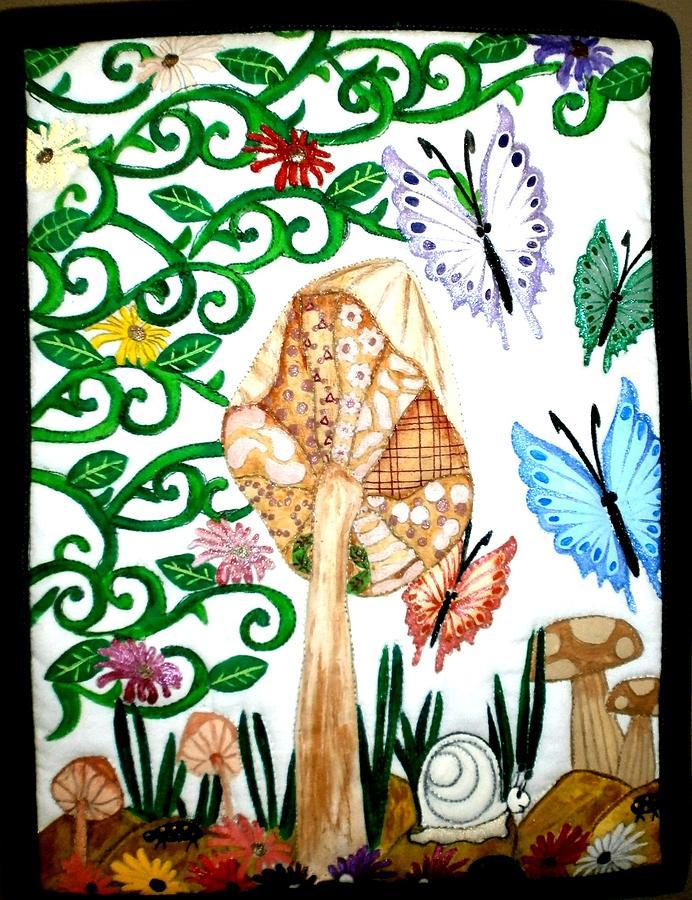 Quilts Tapestry - Textile - Mushroom Hunt by Linda Egland