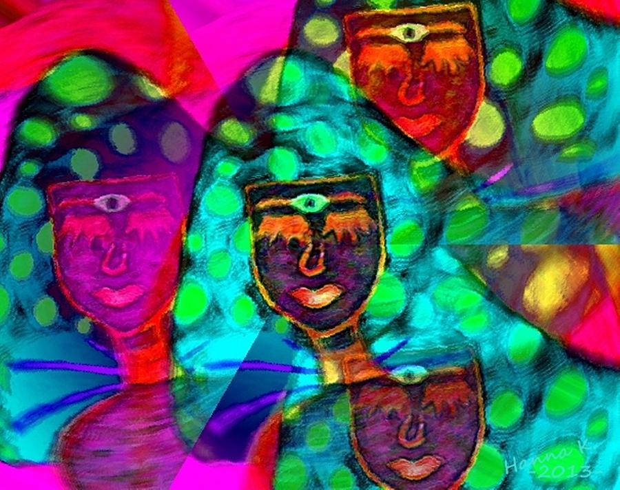 Face Digital Art - Mushroomlady In The Sun Happy by Hanna Khash
