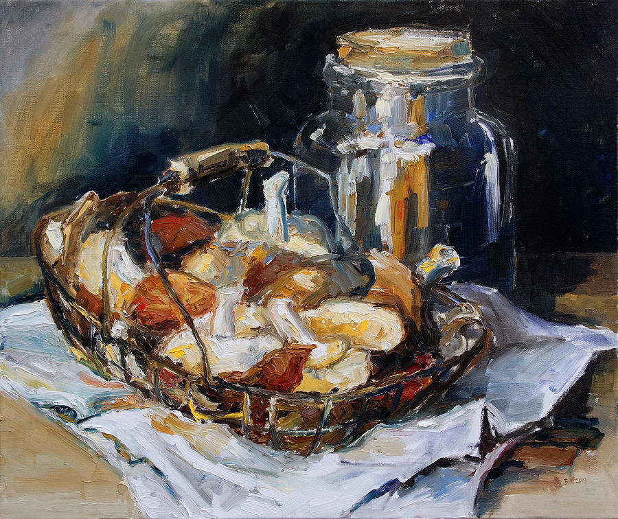 Still Life Painting - Mushrooms by Barbara Pommerenke
