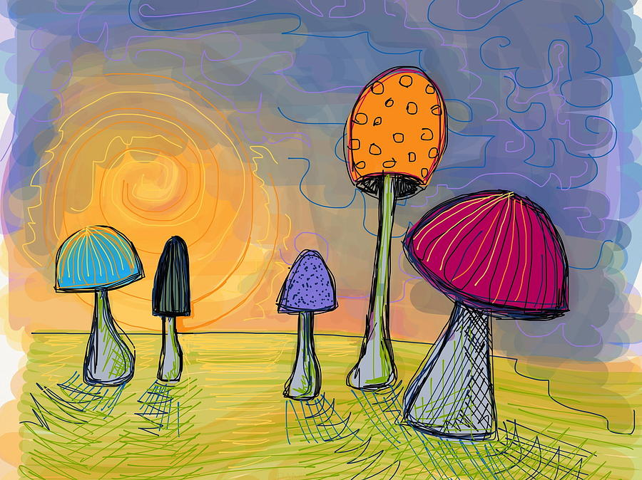 Mushrooms Digital Art - Mushrooms by Kate Fortin