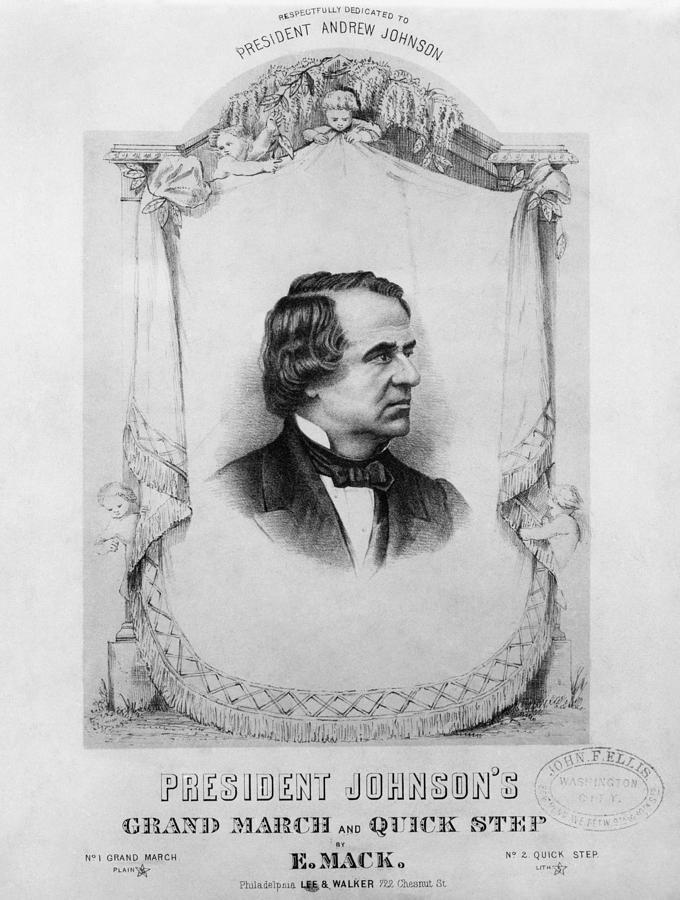 1865 Photograph - Music Andrew Johnson by Granger