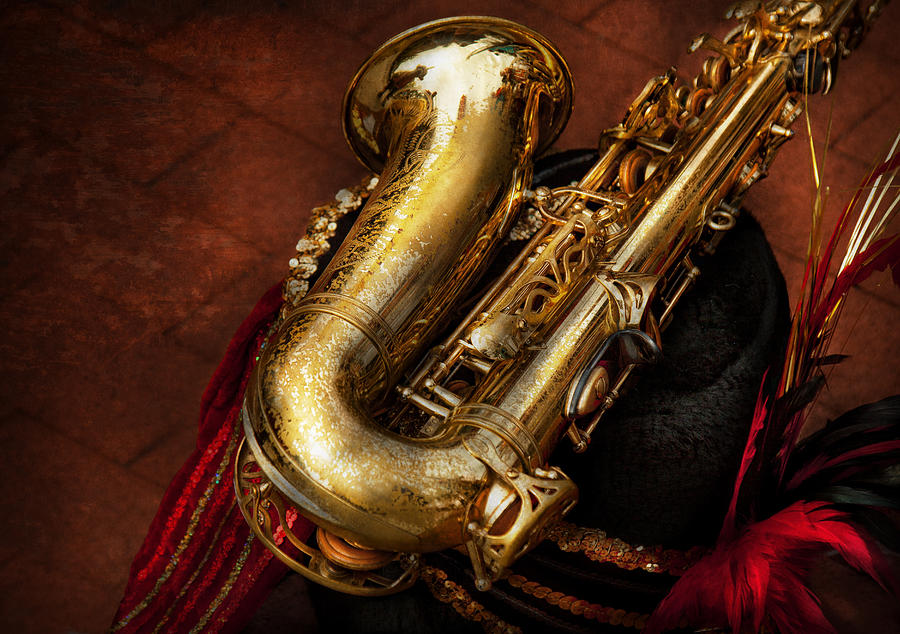 Hdr Photograph - Music - Brass - Saxophone  by Mike Savad