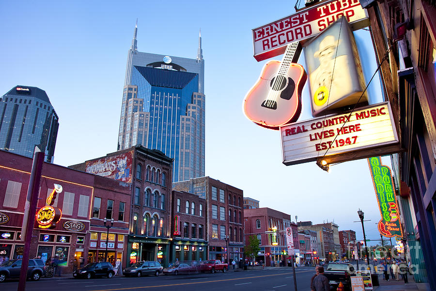 At&t Photograph - Music City Usa by Brian Jannsen
