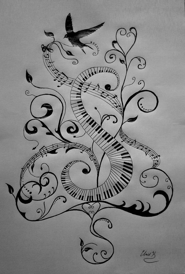 Music Drawing - Music Equals Life by Christopher Kyle