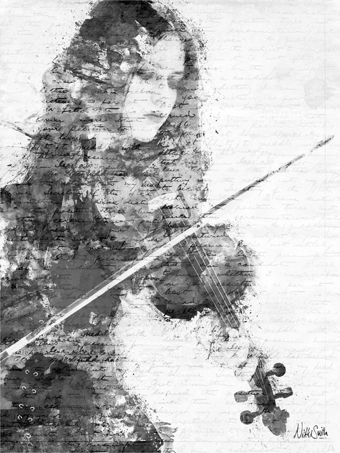Violin Digital Art - Music In My Soul Black And White by Nikki Marie Smith